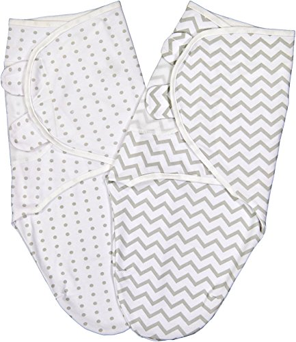 Swaddle Blanket Adjustable Infant Baby Wrap Set 2 Pack (3-6 Months, Grey Chevron & Dots)