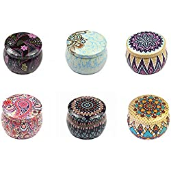 Alotm 6 Pcs 2.75x1.96 inch Tinplate Empty Tins, Caddy Box Retro Home Ktchen Storage Containers, Reusable Tin Cups Jars for Tea, Candy, DIY Candles, Dry Storage, Wedding Party Favors, and Gifts