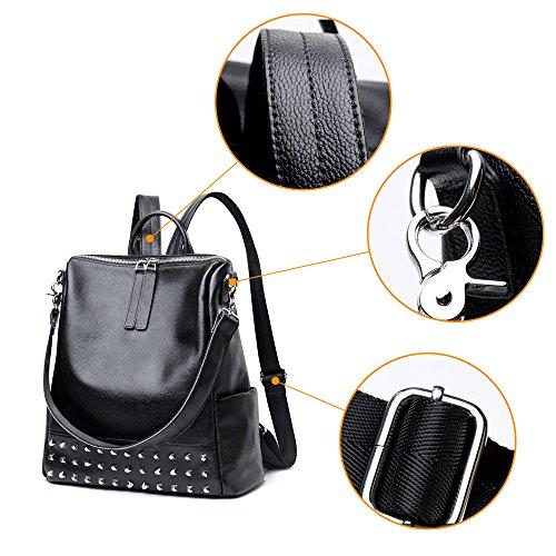 (JVP1082-B1) mochila de piel de vaca de las mujeres negro impermeable bolsa de gran capacidad para las mujeres se sienten fáciles de moda escuela de moda de la lanzadera Negro 1