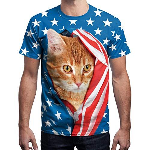 YOCheerful Men T-Shirt Simple Cat Print Patriotic Tees July 4th Tops Loose Casual Tops(Blue, M)