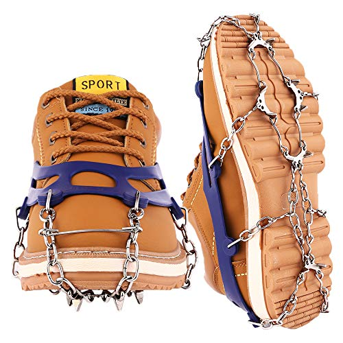 Cutiful Traction Cleats Crampons Snow Grips Anti-Slip Ice Spikes Universal Blue Hiking Spikes Shoe Boots Spikes Walking, Jogging Hiking on Snow Ice