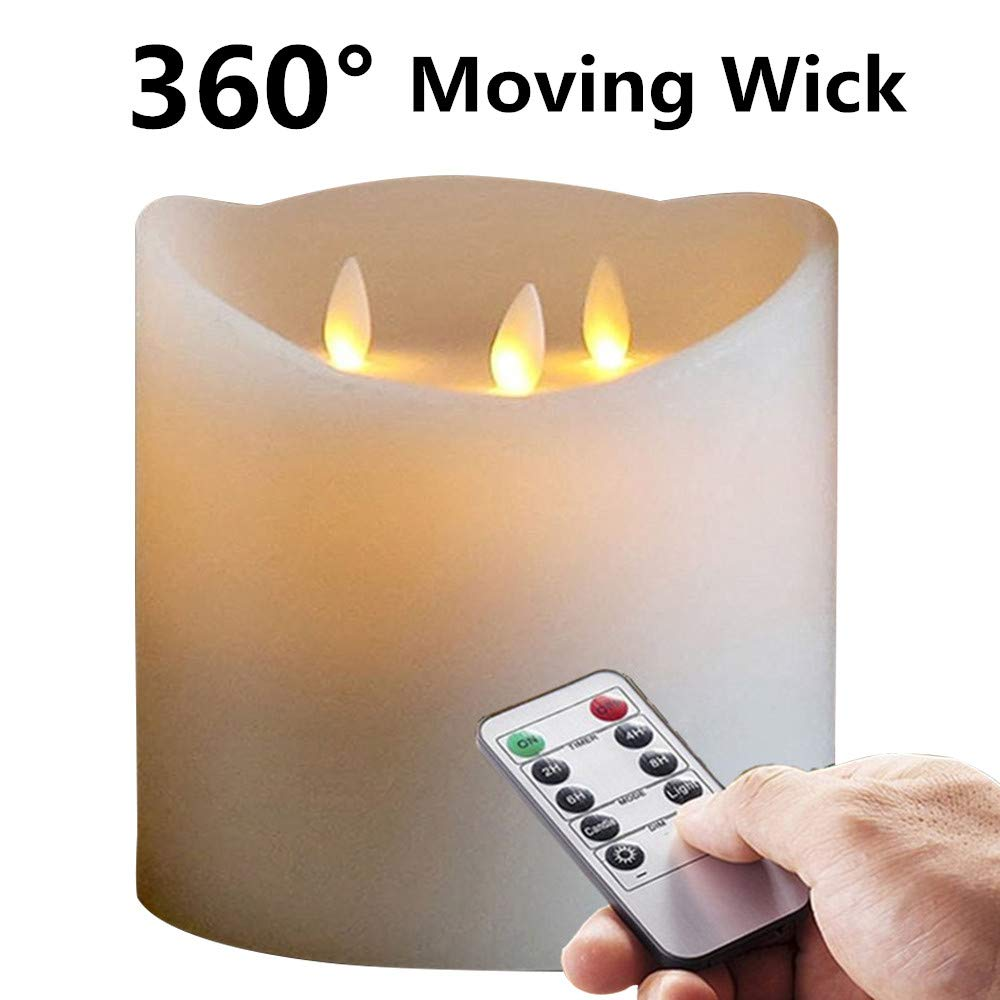 6''X6'' Huge 3-Wicks Remote Moving Flameless Candle Ivroy 1pcs by NONNO&ZGF