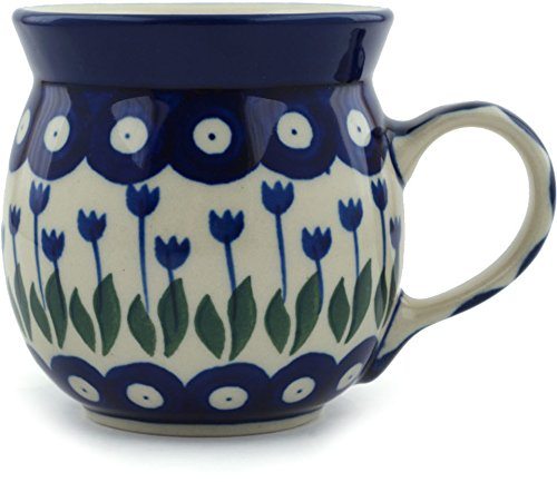 Polish Pottery Coffee Mug Bubble 8 oz Blue Tulip Peacock ()