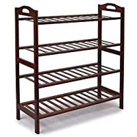 Bamboo 4-Tier Shoe Rack, Shoe Shelf Storage Organizer for Entryway Hallway Bathroom for Boots Heels Bag