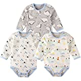 Baby Bodysuit Long Sleeves Onesie Pack of 3 Cotton Romper 12Months