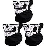 CIKIShield Couples Seamless Skull Face Tube Mask Black (3pcs-white)