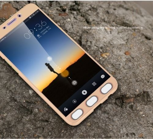Samsung J2 2015 (Gold) 360 Degree Full Body Protection Front & Back Case Cover (iPaky Style) With Tempered Glass