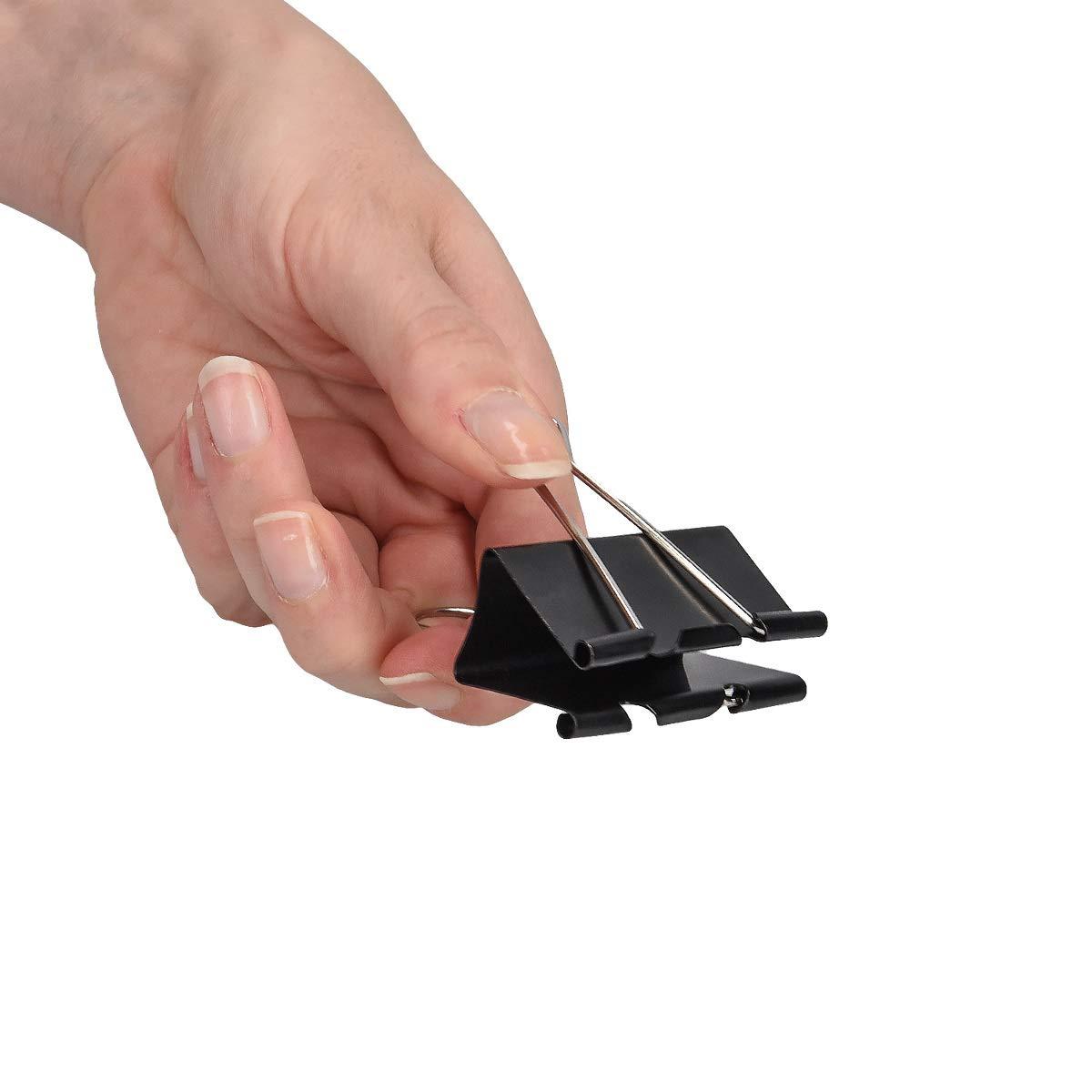 Nere 50x Mollette 32mm Clips Fermaglio Fermafogli Graffetta Ferma Documenti Ufficio kwmobile Set Clip Fermacarte Metallo Pinzette Cancelleria