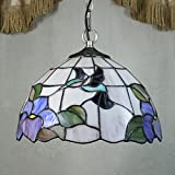12-inch Vintage Pastoral Stained Glass Tiffany Hummingbird Dragonfly Ceiling Lamp Pendant Lamp Living Room Light Hallway Lamp