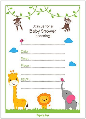 Papery Pop 30 Baby Shower Invitations Boy or Girl (with Envelopes) - Gender Neutral - Fits Perfectly with Safari Jungle Zoo Animals Baby Shower Decorations and Supplies
