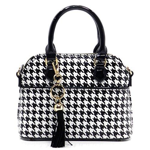 Wholesale Designer Inspired Handbags - Rosemarie Collections Women's Black and White Houndstooth Tassel Mini Tote Bag Handbag