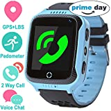 Smart Watch for Girls Boys - GPS Locator Pedometer Fitness Tracker Touch Camera Games Light Touch Anti Lost Alarm Clock Smart Watch Bracelet Compatible with iPhone Android (Blue)