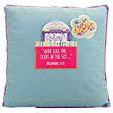 Wee Believers Shine Square Blue 14 x 14 Inch Affirmation Throw Pillow