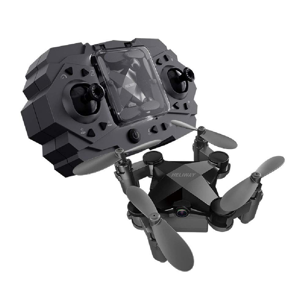 ZYSMC Drohne mit Kamera, Klappwaffen-RC-Runde mit Wi-Fi-Kamera 2.4GHz 6-Achse Gyroscope Quadcopter Höhen-Operation für Kinder und Anfänger