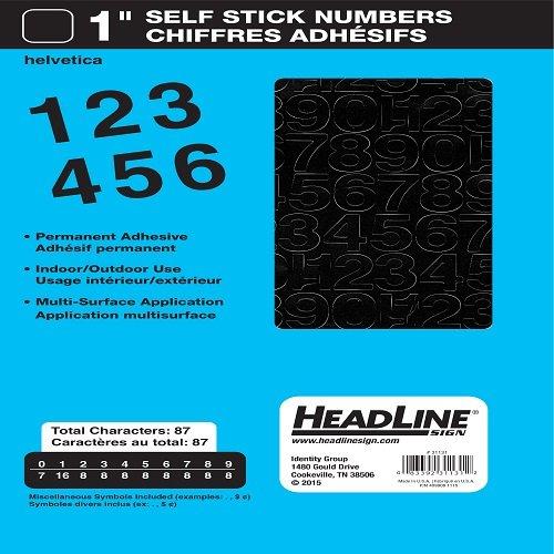 Headline Sign 31131 Stick-On Vinyl Numbers, Black, 1-Inch