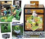 Mini Environment Armor Steve Adventure Biome Plains Series Crop Collector Minecraft Cart Hot Wheels Playset + Trading Cards + Creeper Sticker Bundle