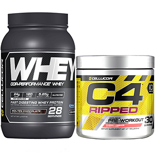 Cellucor C4 Ripped Pre Workout Powder + Fat Burner, Cherry Limeade, 30 Servings + Cellucor Cor-Performance Whey Protein, Molten Chocolate, 2lbs by Cellucor