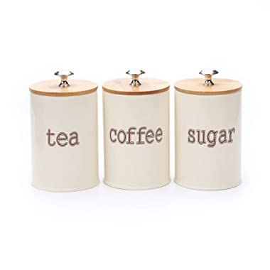 Hot Sale X022S Set of 3 Metal Kitchen Food Storage Tin Canister/Jar/Container with Bamboo Lid (cream)
