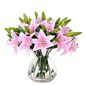 FYYDNZA Latex Artificial Lilies Bouquet Simulation Hand Lily Dimulation Flowers For Home Wedding Living Room Floral Decor 87