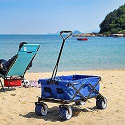 Ollieroo Outdoor Utility Wagon Folding Collapsible Garden Beach Snow Shopping Cart