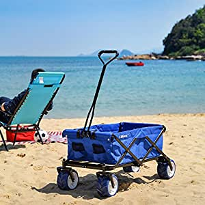 Ollieroo Outdoor Utility Wagon Folding Collapsible Garden Beach Snow Shopping Cart With 7''x4'' Thick Rubber Wheels 150 Pound Capacity Blue