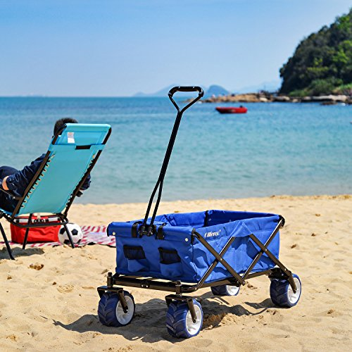 Ollieroo Outdoor Utility Wagon Folding Collapsible Garden Beach Snow Shopping Cart With 7''x4'' Thick Rubber Wheels 150 Pound Capacity Blue (Wagon Wheel Plastic)