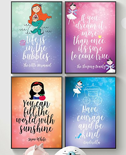 Fairy Tale Advice for Brave Kids Girl Posters, Bedroom or Bathroom .