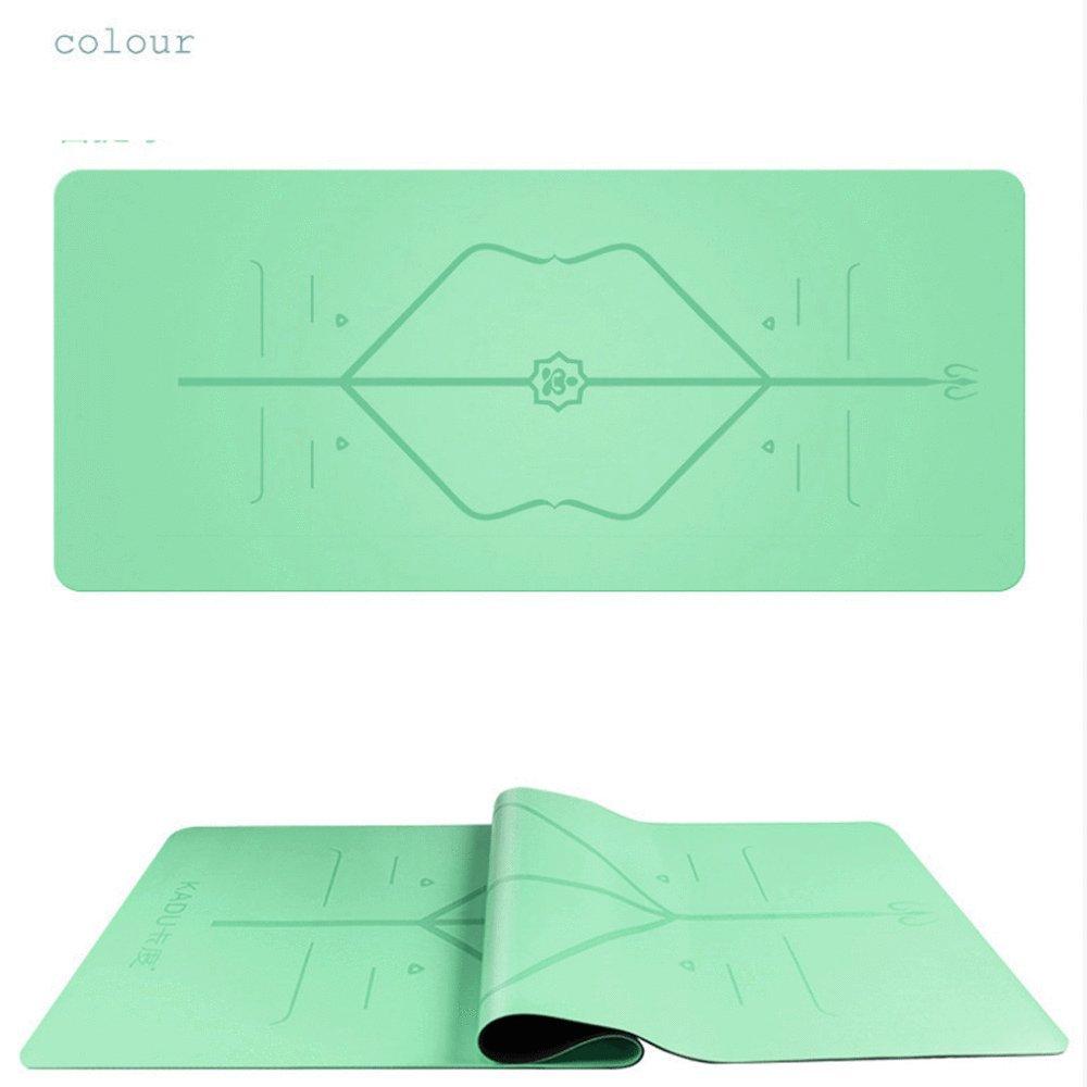 BINLIU Rutschfeste Gummi-Yogamatte Mit Body Alignment Lines Kostenlose Tragetasche Strapazierfähige Gummibasis + Revolutionäre Hautfreundliche Und Griffige Oberfläche,B