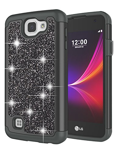 LG Rebel LTE Case, LG Optimus Zone 3 Case, LG Spree Case, LG K4 Case for Girls, Jeylly Glitter Luxury Crystal Dual Layer Shockproof Hard PC Soft TPU Inner Protector Case Cover for LG K4 - Black