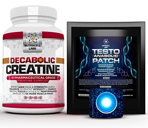 Nutracell Labs 10 Blend Decabolic Creatine + Testo Anabolic Patch : Testosterone Booster, Muscle Growth & Strength Stack (1 Month Course)