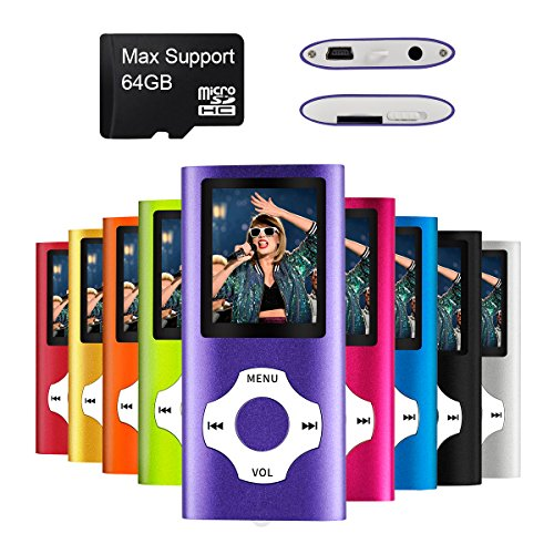 MYMAHDI - Digital, Compact and Portable MP3 / MP4 Player ( Max support 64 GB Micro SD Card ) with Photo Viewer, E-Book Reader and Voice Recorder and FM Radio Video Movie in Purple