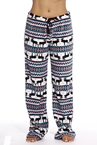 6339-10169-XL Just Love Women's Plush Pajama Pants - Petite to Plus Size Pajamas,White - Moose Fairisle,X-Large