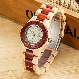 woodfish madera reloj japón movimiento Retro cuarzo madera reloj para hombres mujeres regalo