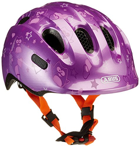 Abus Mädchen Smiley 2.0 Fahrradhelm, Purple Star, 45-50 cm