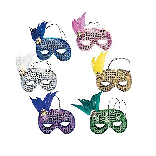 Fun Express - Mardi Gras Sequin and Feather Masks- (1DZ) - Apparel Accessories - Costume Accessories - Masks - ()