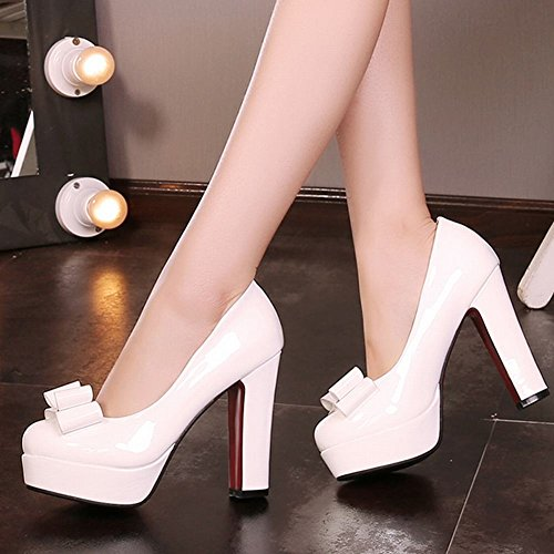 Carolbar Womens Bows Patent Leather Party Date Platform High Heels Pumps Shoes White AhTN3L6b