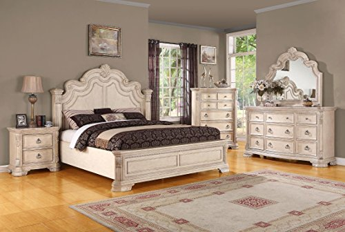 Emerald Home Riviera Alabaster Cream Bed with Intricate Scrollwork And Antiqued Hardware, King (Alabaster Stone Carvings)