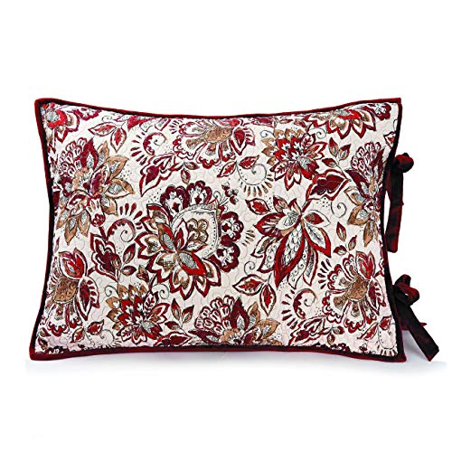 Better Homes & Gardens Burgandy Jacobean Quilted Velvet Floral Standard Sham Reversible 20