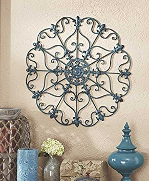 - Teal Turquoise Fleur De Lis Metal Vintage Style Ornate Medallion Iron Wall Sculpture Plaque Decoration