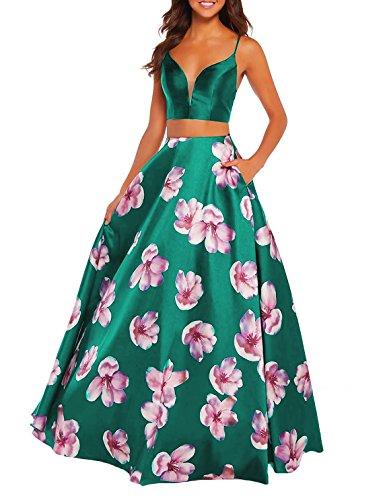Centre Commercial Femmes Imprimé Floral Brl Robe De Bal Avec Des Poches Longues 2 Pièces Robe De Retour À La Maison Turquoise Pm02