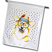 3dRose Uta Naumann Watercolor Illustration Animal - Cute Funny Dog Illustration on Polkadots- Welsh Corgi Pembroke - 12 x 18 inch Garden Flag (fl_275102_1)