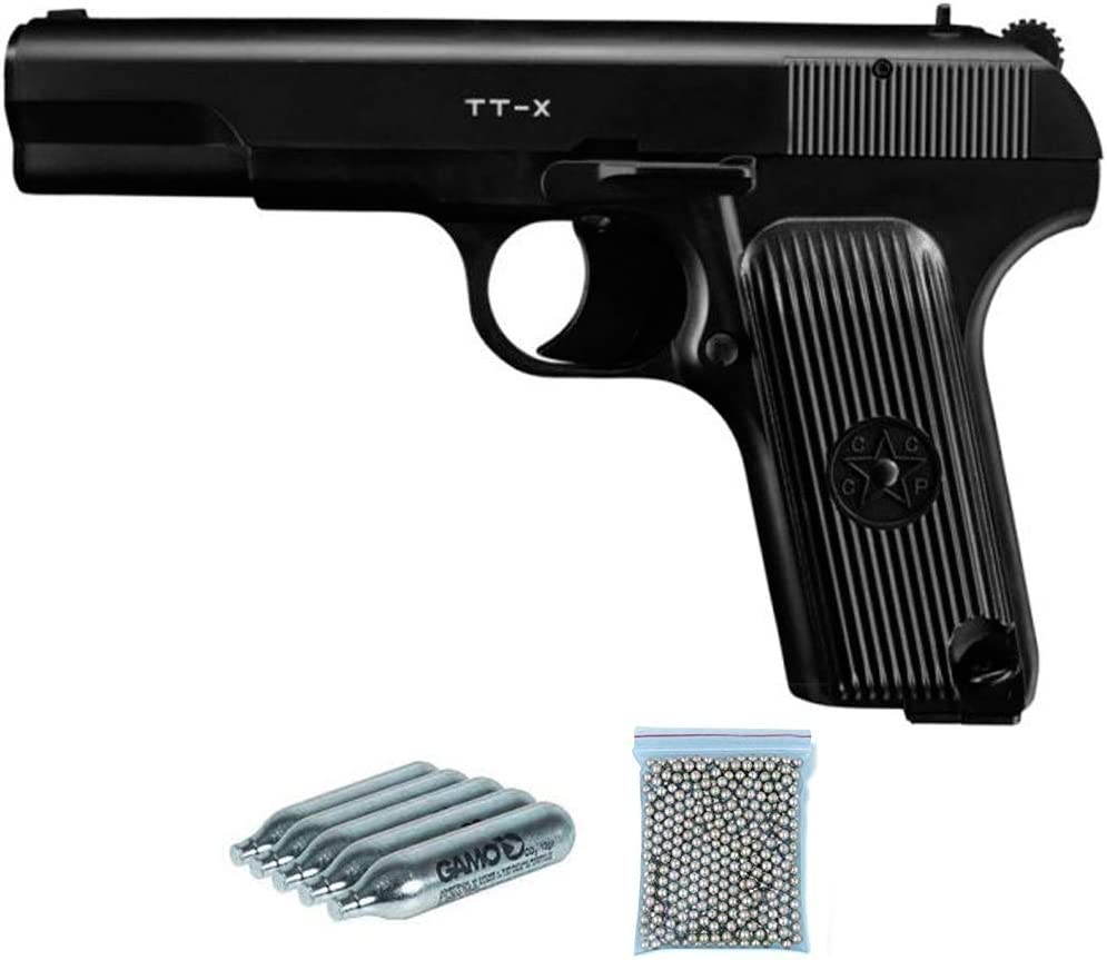 TT-X Borner Pack Pistola de balines (perdigones Bolas de Acero BB's). Arma de Aire comprimido CO2 4,5mm. Réplica de Tokarev Rusa. Potencia: 2.55 Julios.