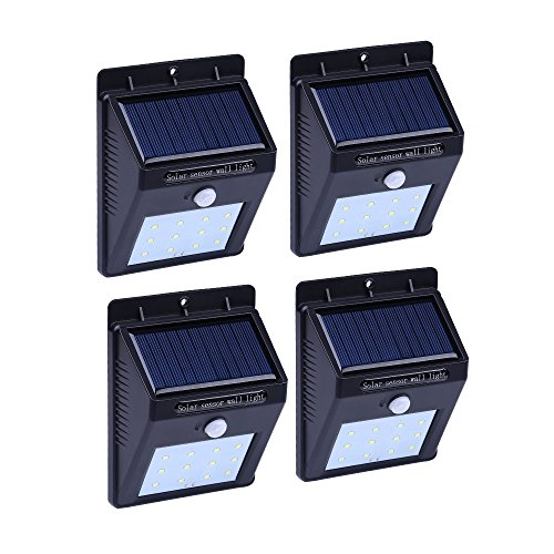 Cheap ANNT Powered Solar Sensor Wall Light 12 LED Motion Wall Lamp Wireless Porch Lights Outdoor Security Lighting Nightlight (Pack of 4)