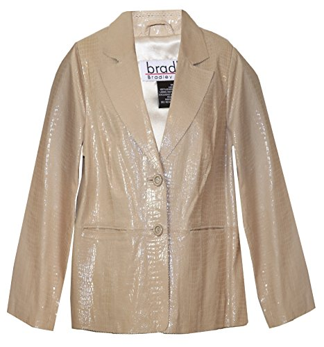 Bradley Bayou Croco Embossed Leather Plus Size Blazer Jacket (1X (Size 18/18W), Light Tan)