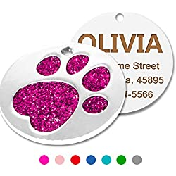 Custom Glitter Dog Cat ID Tags,Elagent Paw Printed Small Medium Doggie and Kitten Tag,Laser Printed,Round Shaped