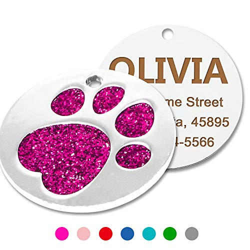 Custom Glitter Dog Cat ID Tags,Elagent Paw Printed Small Medium Doggie and Kitten Tag,Laser Printed,Round Shaped ()