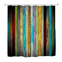 Goodbath Striped Shower Curtain,Colorful Wooden Board Waterproof Bathroom Shower Curtains, 72 x 72 Inch, Pink Blue Orange Yellow