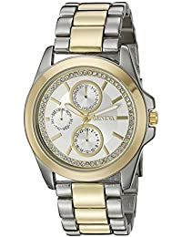 Women's FMDJM122 Two-Tone Watch with Crystal Dial Ring