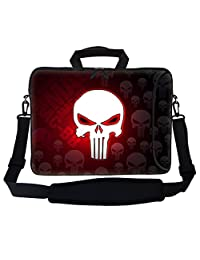 "Meffort Inc 17 17.3 inch Neoprene Laptop Bag Sleeve with Extra Side Pocket, Soft Carrying Handle & Removable Shoulder Strap for 16"" to 17.3"" Size Notebook Computer - Red Skull Design"