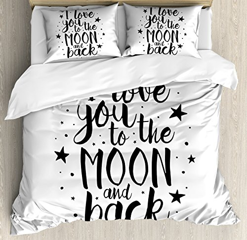 I Love You Queen Size Duvet Cover Set by Ambesonne, Romantic I Love You to the Moon and Back Motivational Lifestyle Quote Print, Decorative 3 Piece Bedding Set with 2 Pillow Shams, Black White by Ambesonne